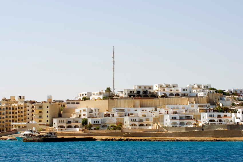 The expanding part of Sekalla in Hurghada Egypt. Hotel compex under construction in the background