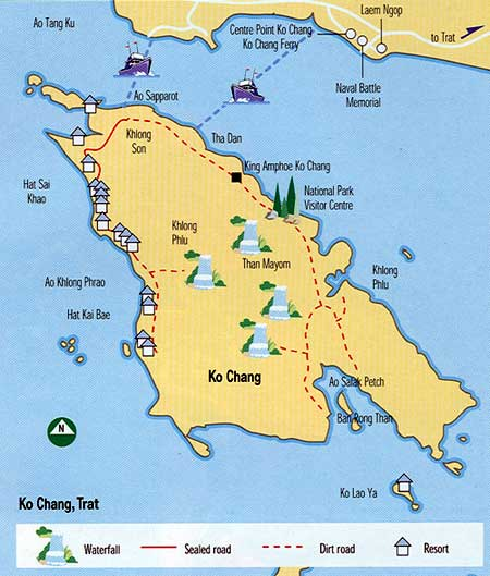 Koh Chang Thailand Map.Koh Chang Thailand Tourist Destinations