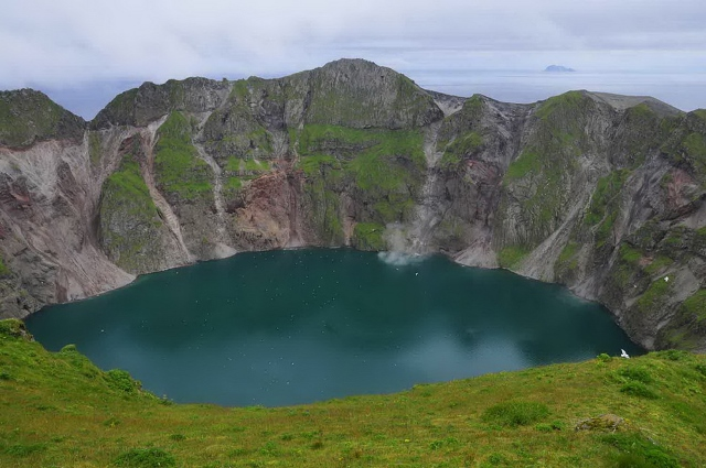 Summit crater and crater lake of Kasatochi volcano