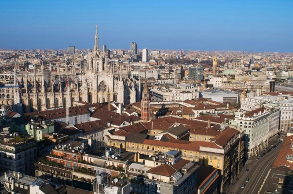 Aerial view of the city of Milan in Italy
