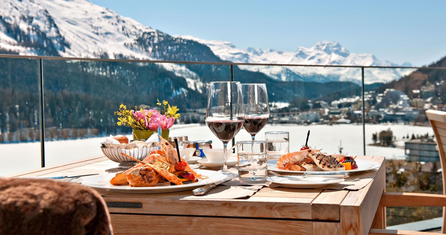 St moritz switzerland winter paradise destination for Dinner on the terrace