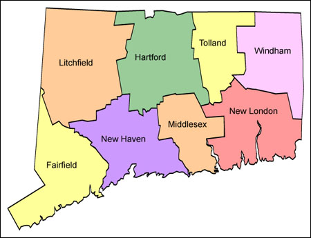 Connecticut USA Tourist Destinations - Connecticut on a us map