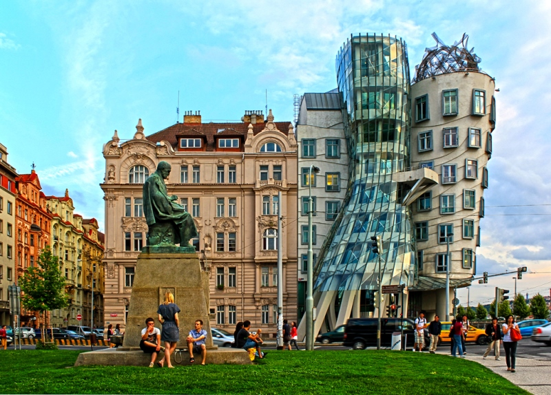 Monument to Alois Jirasek and the Dancing House in Prague