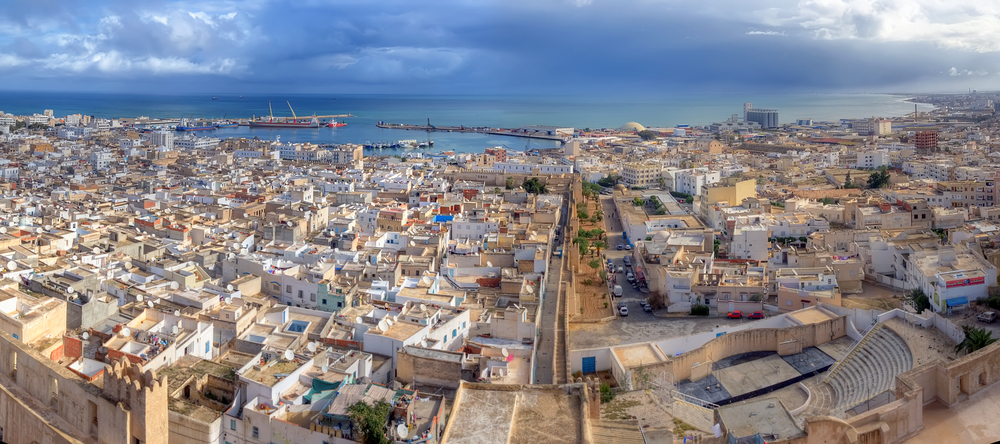 Aerial-view-on-medina-in-Sousse,-Tunisia,-Africa