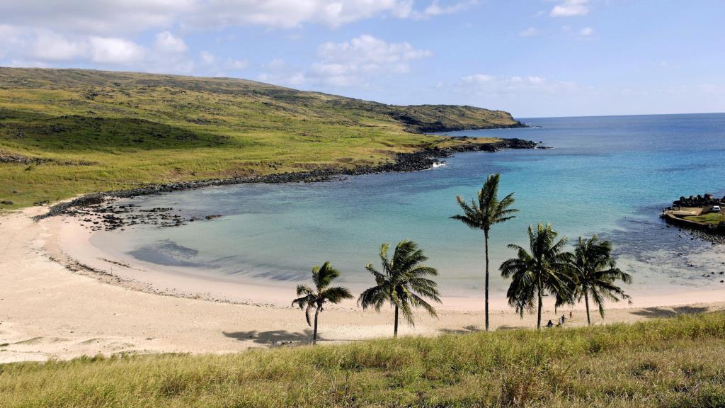 Anakena beach. Anakena. Easter Island. Chile.