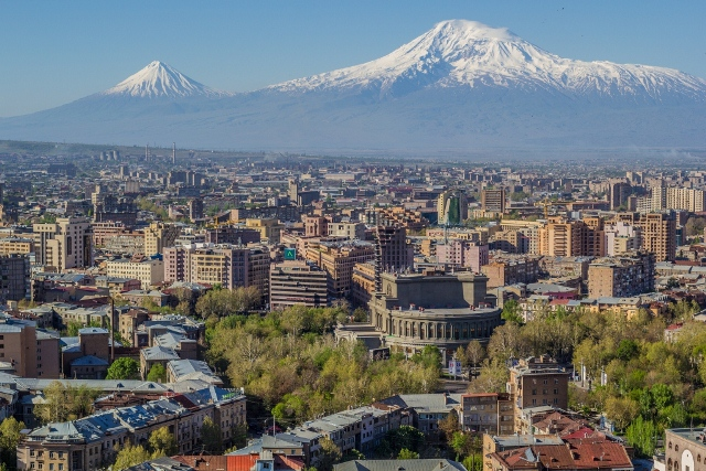 Mount Ararat and the Yerevan skyline