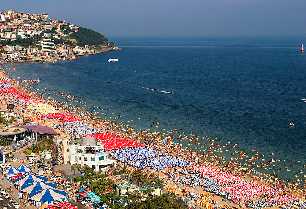 Haeundae Beach during peak summer season, Busan, South Korea